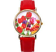 couleur rose femmes PU bande de montre-bracelet en cuir (rouge) (1pcs)