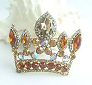 Women Accessories Gold-tone Topaz Rhinestone Crystal Crown Brooch Art Deco Crystal Brooch Bouquet Women Jewelry
