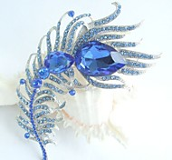 Women Accessories Silver-tone Blue Rhinestone Crystal Peacock Feather Brooch Art Deco Brooch Bouquet Women Jewelry