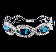 Exquisite Twist Shape Crystal Set Drill Double Row Button Type Bracelet