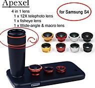 apexel 4 en 1 12x teleobjetivo negro + objetivo ojo de pez + gran angular&lente de la cámara macro con el caso para la galaxia s4
