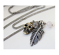 21 Brand Retro Flash Diamond Feather Skull Long Sweater Chain Necklaces 1pc