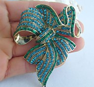 Women Accessories Gold-tone Turquoise Rhinestone Crystal Bowknot Brooch Art Deco Crystal Sash Brooch Women Jewelry