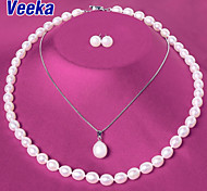 Veeka Jewelry Sets Freshwater Pearl Necklace with Stud Earrings 925 Sterling Silver Pendants Wedding Jewelry