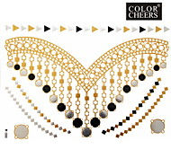 1Pc Gold And Silver Long Bracelet And Necklace Tattoo Sticker 23x15.5CM