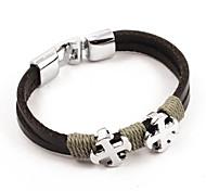 Fashion Men's Cross Leather Bracelets 1pc