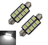 JIAWEN® 2pcs Festoon 42mm 1.5W 8x5050SMD 150-170LM 6000-6500K Cool White Light LED Car Light (DC 12V)