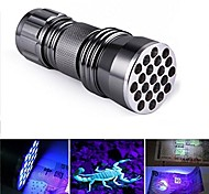 Huntereyes ™ Mini Size UV Flashlight with 21-LED  395-405NM  Black Flashlight  Grey