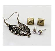 aretes de diamantes de flash de oro retro + geométricas pendientes de combinación + alas pendientes para 1 juego * 3pairs