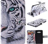 diseño de tigre blanco de la PU cuero caso de cuerpo completo con soporte y ranura para tarjeta para samsung galaxy a5 / A5000