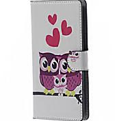 três corujas& corações estojo de couro magnética com slots de stands e cartão para lg leon 4G LTE h340n