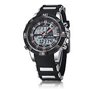 Digital  Analog Dual Time Date Day Alarm Silicone Strap Outdoor White Quartz Wrap Wrist Military Men's Sports Watch