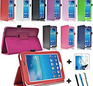 PU-Leder Fall Halterung + Schirm-Schutz + Schreibkopf für Samsung Galaxy Tab 3 lite T110 / T111 (Farbe sortiert)