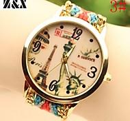 Women's Fashion Diamond Lovely Eiffel Tower Freedom Goddess Quartz Analog Weaving Wool Band Wrist Watch(Assorted Colors)