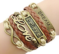 leather Charm Bracelets Classic Bronze LOVE Leather Wrap Bracelet(1 Pc) inspirational bracelets