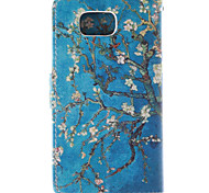 For Samsung Galaxy Case Card Holder / with Stand / Flip / Pattern Case Full Body Case Tree PU Leather Samsung Alpha