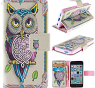 Personality Owls Pattern PU Leather Full Body Case with Stand and Card Slot for iPhone 5C