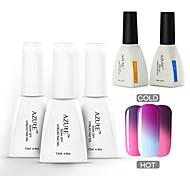Azure 5 Pcs/Lot Chameleon UV Gel Polish Soak-off Nail Care Polish (#03+#08+#12+BASE +TOP)