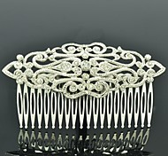 Simple Palace Flower Hair Comb Headpieces for Women Party with Clear Rhinestone