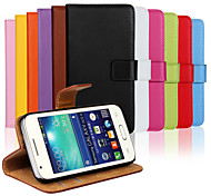 Genuine Leather Full Body Flip Case with Card Slot and Stand Case for Samsung Galaxy Ace 4 G313H (Assorted Colors)