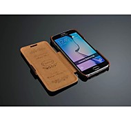 Leather Litchi grain Horizontal set About to open mobile phone Holster for Samsung Galaxy S6