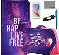 COCO FUN® Free Life Pattern PU Leather Case with Film and USB Cable and Stylus for Samsung Galaxy S6