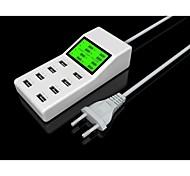 huit ports usb adaptateur chargeur de puissance YC-cda6 pour iPhone / iPad / samsung / HTC / blanc LG- (EU Plug)