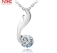 NBE Sterling Silver/Zircon Necklace Pendant Necklaces/Chain Necklaces Wedding/Party/Daily/Casual 1pc