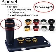 apexel 4 en 1 teleobjetivo + lente ojo de pez + gran angular + lente de la cámara macro 12x negro con el caso para la galaxia s5