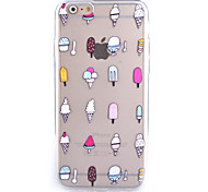 Ice Cream Pattern Transparent Frosted Shell TPU Frame Combo Mobile Phone Shell for iPhone 6 Plus