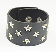 Toonykelly Black Leather Fashionable Star Button Bracelet 1pc