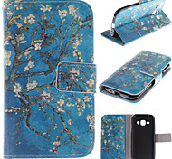 The Old Tree Flower Design PU Leather Stand Case with Card Slot for Samsung Galaxy J1