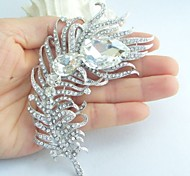 Wedding Accessories Silver-tone Clear Rhinestone Crystal Peacock Feather Brooch Wedding Deco Bridal Brooch Bouquet