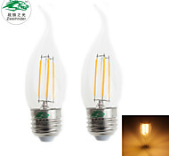 Zweihnder E27 4W 380LM 3000-3500K LED Tungsten Core Warm Light Candle Light (AC 220-240V,2Pcs)