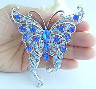 Women Accessories Silver-tone Blue Rhinestone Crystal Butterfly Brooch Art Deco Crystal Brooch