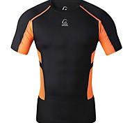 Bike/Cycling T-shirt / Tops Men's Short Sleeve Breathable / Quick Dry / Compression 100% Polyester / Terylene / Mesh Fashion / Slim Black