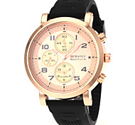 Men's Military Style Gold Case Rubber Band Quartz Wrist Watch