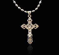 18K Russia 585 Golden Plated Rose Color Jesus Christ Cross Pendant 2.9*5.5CM