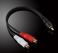 jsj® 0.2m 0.656ft maschio rca a 2x femmina rca cavo video audio nero per la registrazione musicale