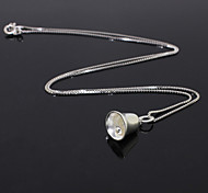 Women's 925 Sterling Silver Bell Pendant Clavicle Necklace (16'',silver)