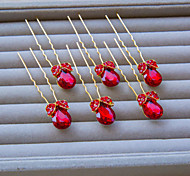 Fashion Korean Style Gold With Red Rhinestone Hairpins 6 Piece Of Set Packing C0123E-6