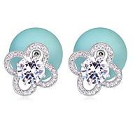 Hot Sale For 2015 Big Crystal Shaped Zircon Pearl Earring Double Sided Pearl Earring Cheap Pearl Earring For Women