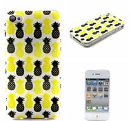 COCO FUN® Black & Yellow Pineapple Pattern Soft TPU IMD Back Case Cover for iPhone 4/4S