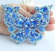 Women Accessories Silver-tone Blue Rhinestone Crystal Brooch Art Deco Butterfly Brooch Bouquet Women Jewelry