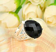 familia de la manera gota fuego amigo regalo negro ónix joya de plata 925 anillos de flores declaración de fiesta de la boda ocasional 1pc