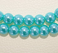 Beadia 2 Str(approx 180pcs) 10mm Round Glass Beads Turquoise Color Imitation Pearl Beads DIY Spacer Loose Beads