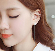 European Style Fashion Simple Vertical Shape Pearl Earrings Earpins