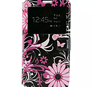 Pink Flowers  Pattern PU Leather Mobile Phone Holster For Samsung Galaxy J7