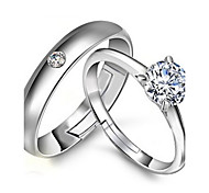 Couples' Silver Ring With Rhinestone(A Pair Of Selling)