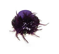 Purple Feather Hair Clip Mini Top Lace Hat Fascinator Cocktail Party Women